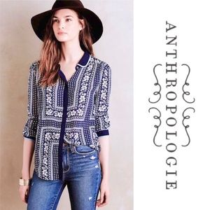 Maeve Art House Navy Floral Print Button Up Top